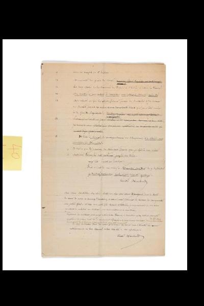MARCHAND (Louis Joseph). Manuscrit autographe signé