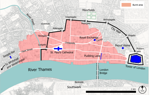 Central London in 1666 with the burnt area in pink.